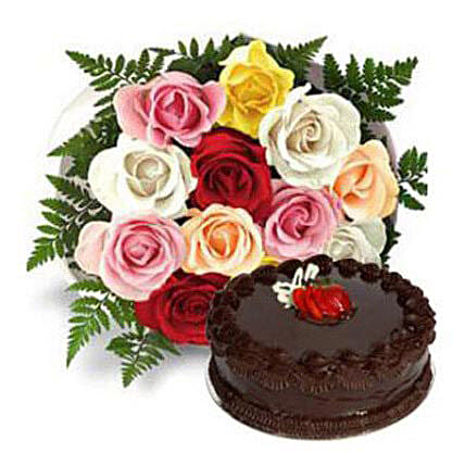 12 Multicolored Roses with Cake
