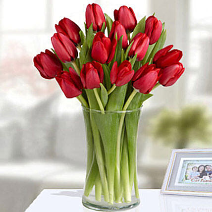 20 Red Tulip Arrangement:Send Tulip Flowers to UAE