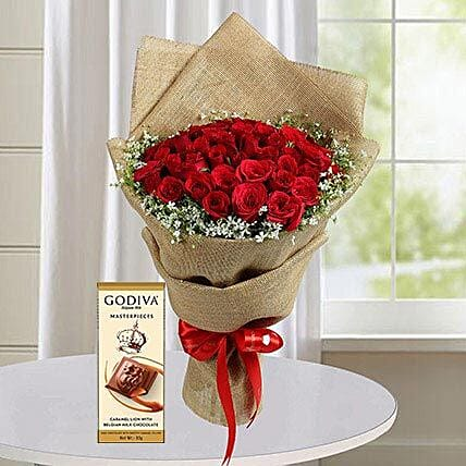 30 Red Roses and Godiva Chocolate Combo