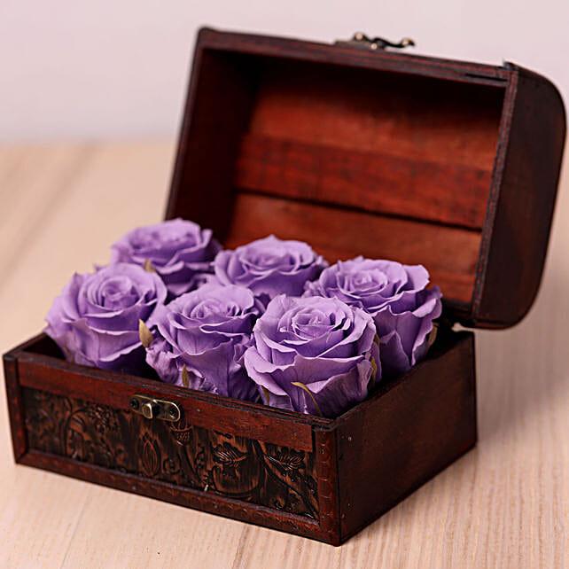 6 Purple Forever Roses in Treasure Box