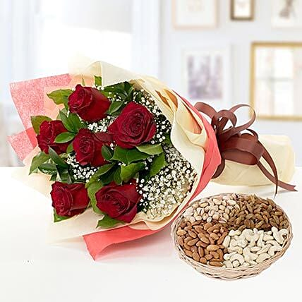 6 Red Roses Bouquet With Dry Fruits:Flowers and Dry Fruits Delivery in UAE
