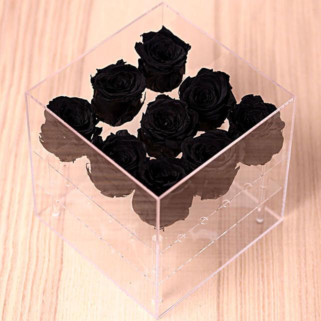 9 Forever Black Roses