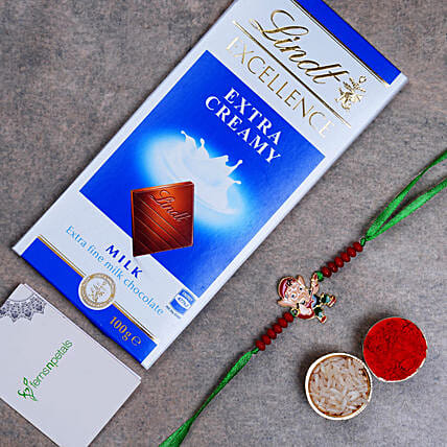 Appealing Bal Ganesha Kids Rakhi And Lindt Chocolate