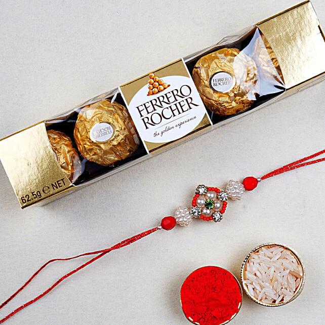 Appealing Floral Rakhi And 5 Pcs Ferrero Rocher