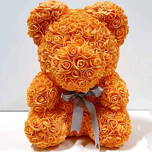 Artificial Orange Roses Teddy:Send Rose Teddy Bears to UAE
