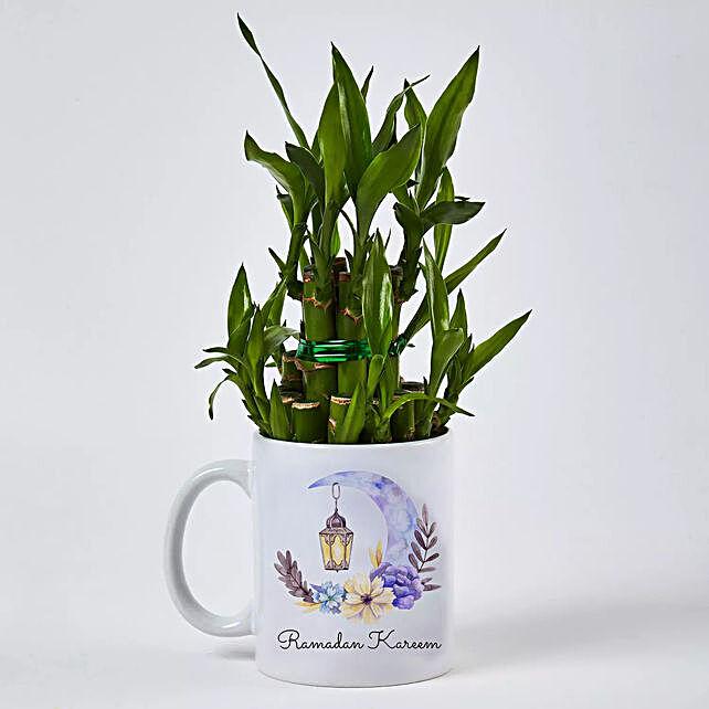 Bamboo Plant in Ramadan Kareem Mug:Send Bamboo Plants to UAE
