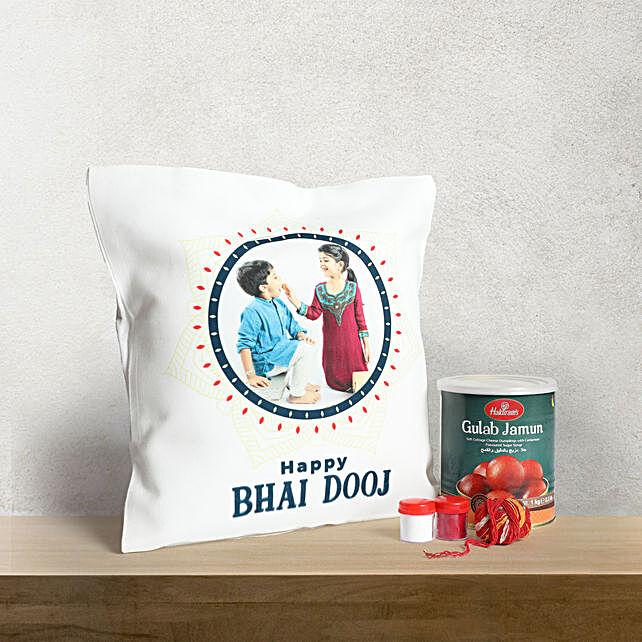 Bhai Dooj Cushion with Sweets Combo