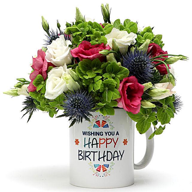 Birthday Wishes Floral Mug Arrangement:Birthday Gift Delivery in UAE