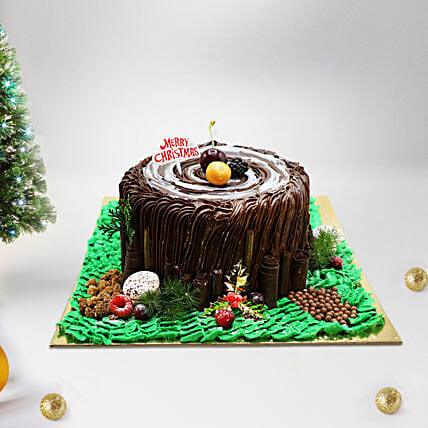 Black Forest Trunk Cake:Send Christmas Cakes to UAE