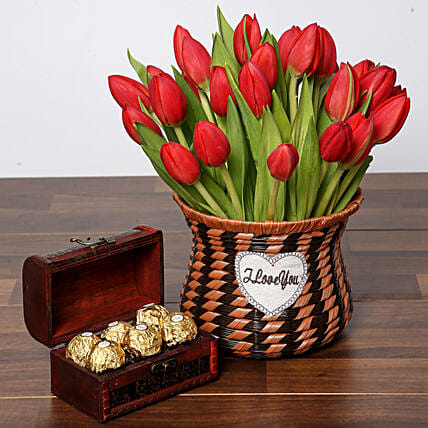 Blissful Red Tulips Basket and Chocolates