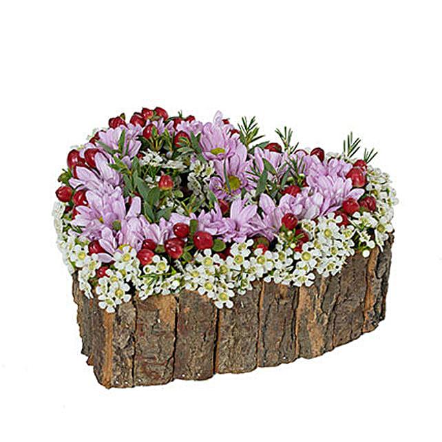 Blooming Heart shaped Flower Arrangement