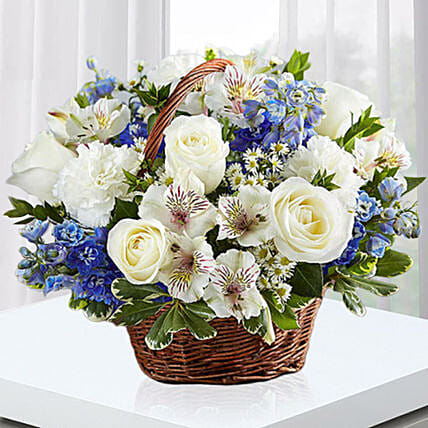 Blue and White Blooms Basket:Send Carnation Flower to UAE