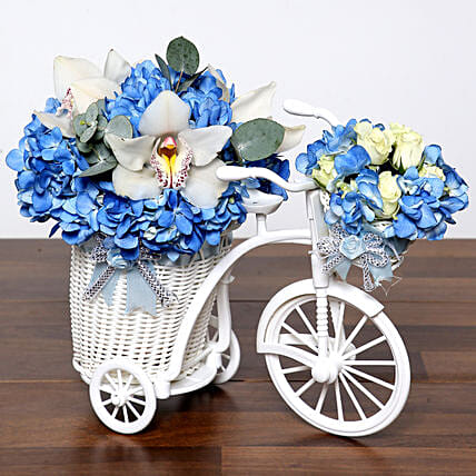 Blue N White Flowers In Cycle Basket and Cake:Send Roses to UAE