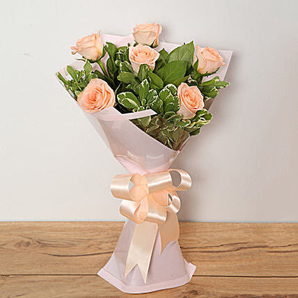Bouquet Of Peach Roses
