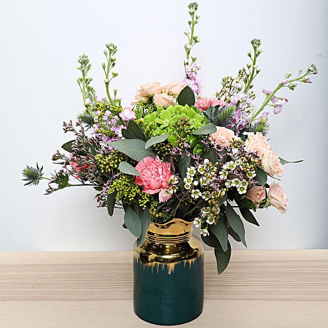Carnations N Roses in a Vase