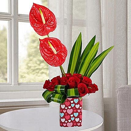 Charming Red Flower Arrangement