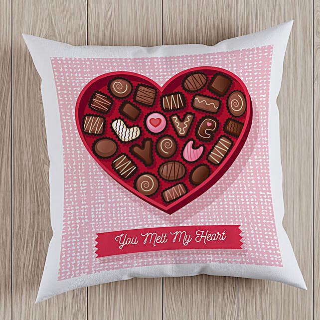 Chocolate Heart Printed Cushion:Send Chocolate Day Gifts to UAE