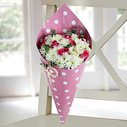 Daisy and Pink Rose Bunch