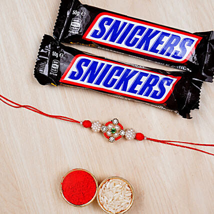Designer Rakhi With Two Snickers