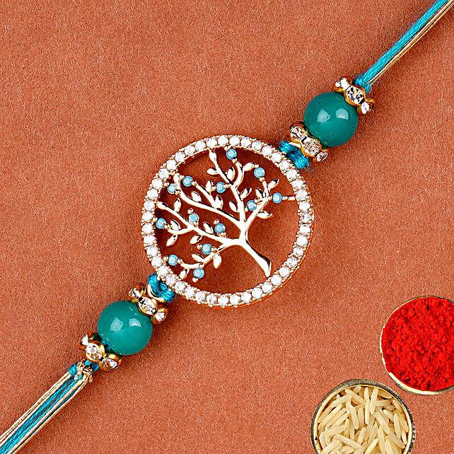 Divine Blue Tree Of Life Rakhi:Single Rakhi to UAE