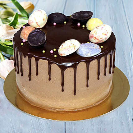 Online Chocolate Cake with Easter Egg Decoration