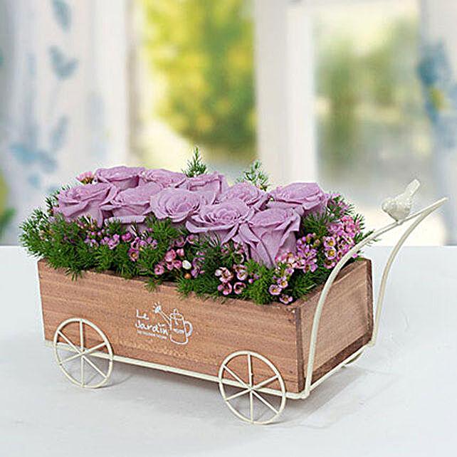 Elegant Rose N Wax Flowers Arrangement