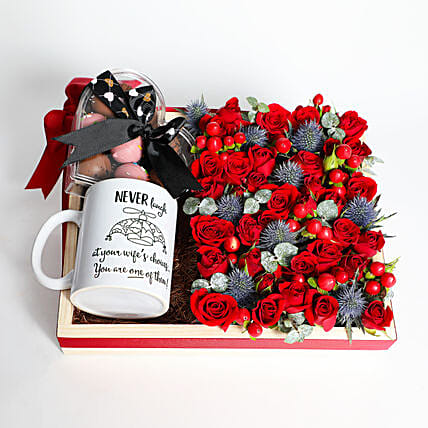 Exotic Roses and Chocolate With Quirky Mug:Send Karwa Chauth Gifts to UAE
