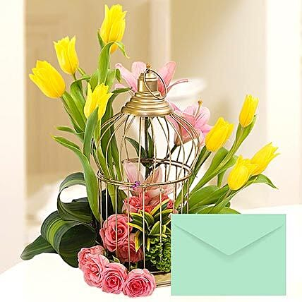 Floral Cage Arrangement With Greeting Card