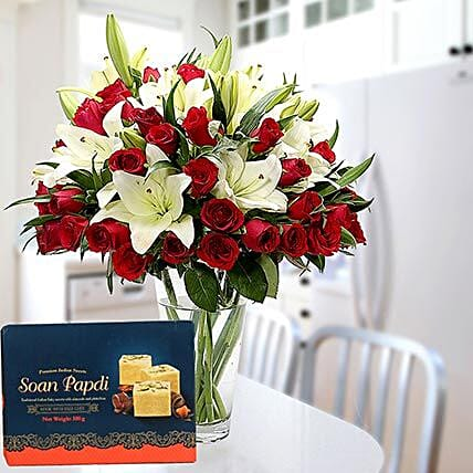 Floral Vase Arrangement and Soan Papdi Combo
