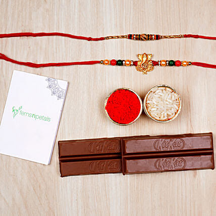 Ganesha And Meenakari Rakhi With Kitkat Chocolates:Set of 2 Rakhi Delivery in UAE