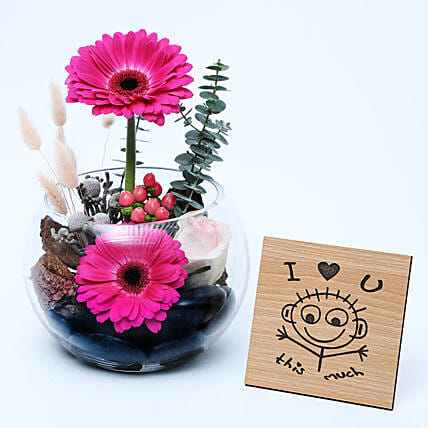 Gerberas Dish Garden N Table Top:Anniversary Gifts  to UAE