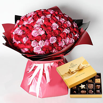 Godiva and 200 Special Roses Bouquet
