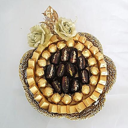 Golden Chocolates and Dates Basket