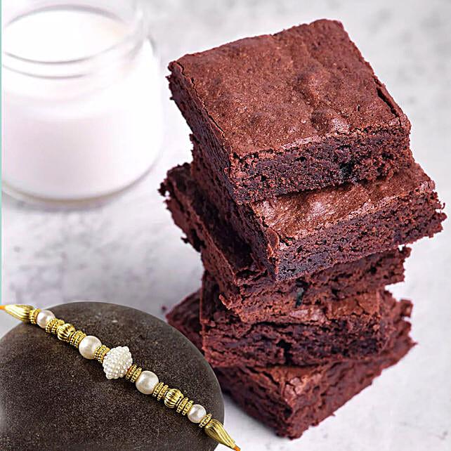 Golden Pearl Rakhi with Chocolate Brownies:Rakhi With Cakes to UAE