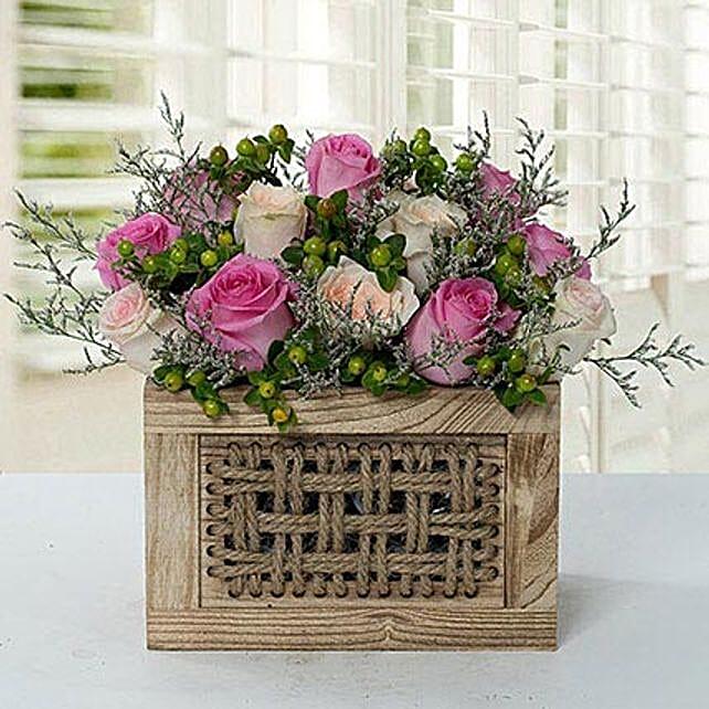 Graceful Rose Wooden Arrangement