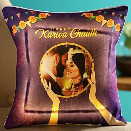 Happy Karva Chauth Personalised LED Cushion
