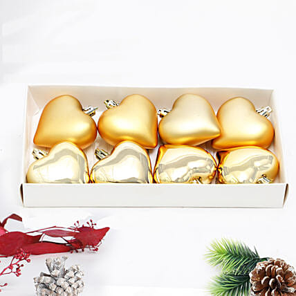 Heart Shape Gold Baubles 8 Pcs:All Gifts
