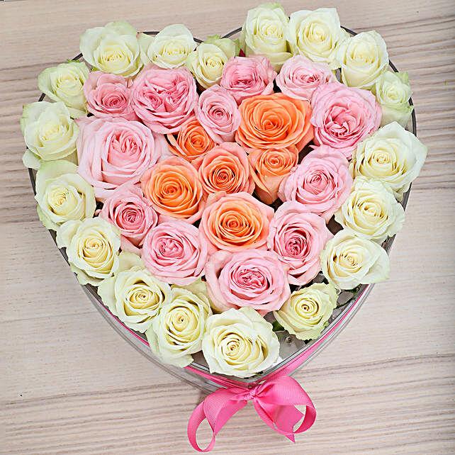 Heart Shaped Mixed Roses Arrangement