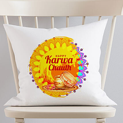 Karva Chauth Wishes White Cushion
