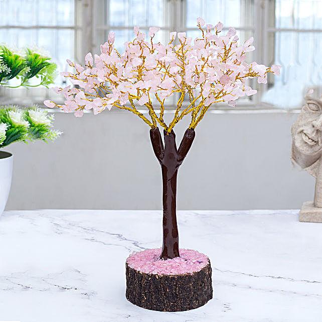 Light Pink Rose Quartz Stone Tree Showpiece:Anniversary Gifts  to UAE