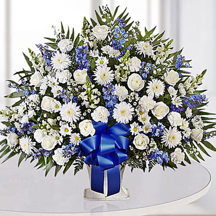 Luxurious Blue N White Flower Arrangement