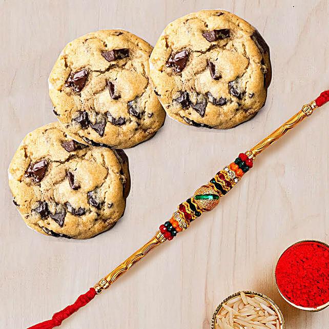 Meena Thread Rakhi and Choco Chip Cookies:Rakhi for Brother in UAE