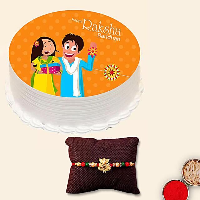 Meena Thread Rakhi and Rakshabandhan Cake:Rakhi With Cakes to UAE