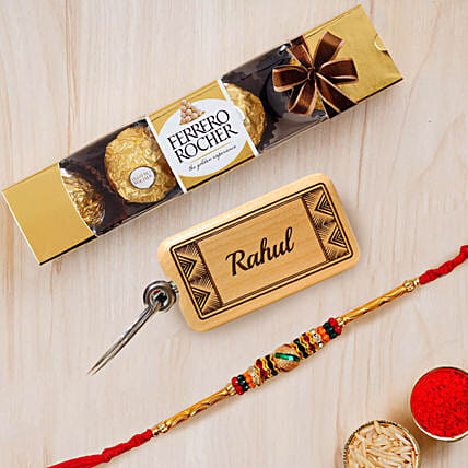 Meena Thread Rakhi with Chocolate and Key Chain:Rakhi for Brother in UAE