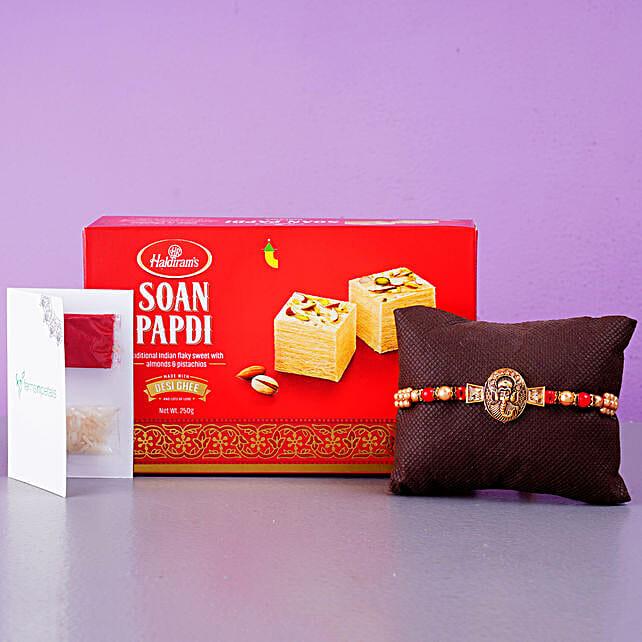 Mini Golden Ganesha Rakhi And Soan Papdi