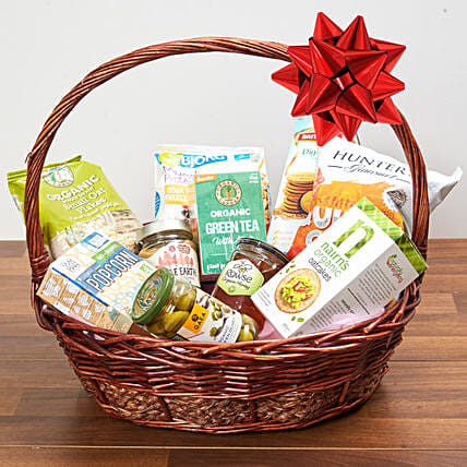 Mint Green Tea And Snacks Basket:Gift Baskets to UAE