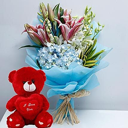 Mixed Flowers and Teddy Combo