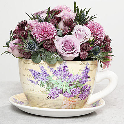 Mixed Flowers In Ceramic Cup Plate