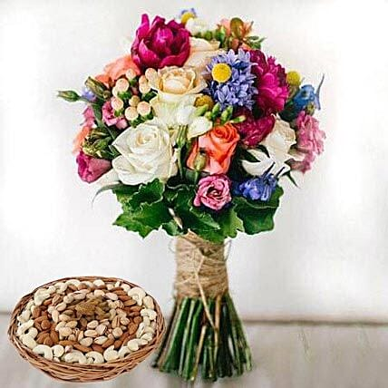 Mixed Roses Bouquet and Dry Fruits Combo:Flowers and Dry Fruits Delivery in UAE