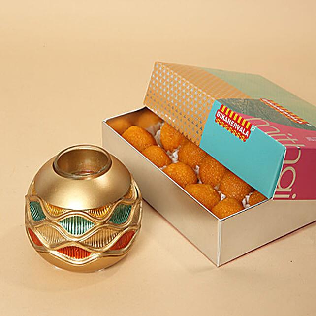 Motichoor Laddoo and Golden Diya Combo:Send Diwali Diyas to UAE